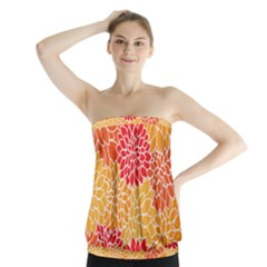 Vintage Floral Flower Red Orange Yellow Strapless Top