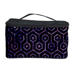 Hexagon1 Black Marble & Purple Marble Cosmetic Storage Case by trendistuff