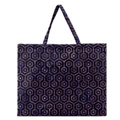 Hexagon1 Black Marble & Purple Marble Zipper Large Tote Bag by trendistuff