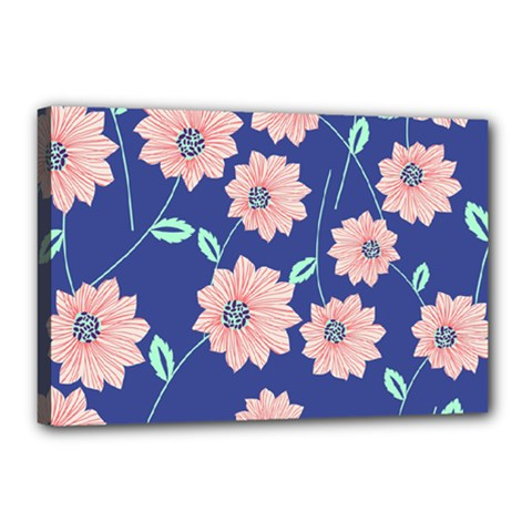 Seamless Blue Floral Canvas 18  X 12