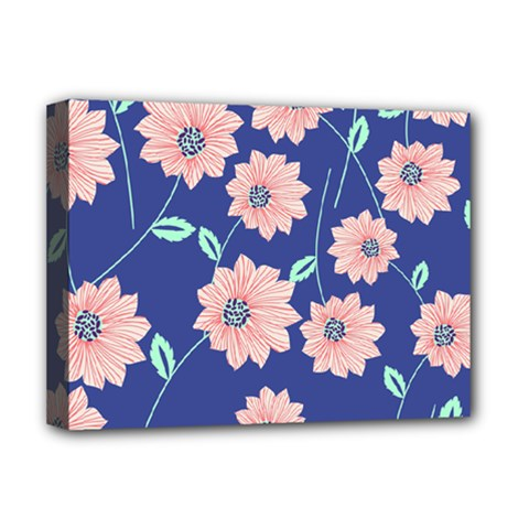 Seamless Blue Floral Deluxe Canvas 16  X 12