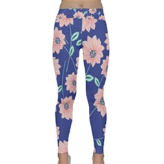 Seamless Blue Floral Classic Yoga Leggings by AnjaniArt