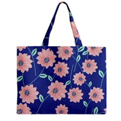 Seamless Blue Floral Zipper Mini Tote Bag by AnjaniArt