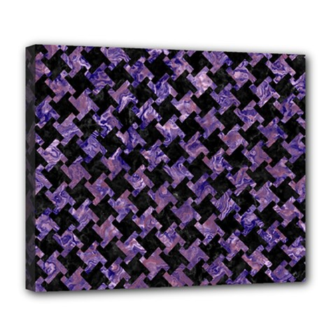 Houndstooth2 Black Marble & Purple Marble Deluxe Canvas 24  X 20  (stretched) by trendistuff