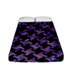 Houndstooth2 Black Marble & Purple Marble Fitted Sheet (full/ Double Size) by trendistuff
