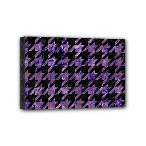 Houndstooth1 Black Marble & Purple Marble Mini Canvas 6  X 4  (stretched) by trendistuff