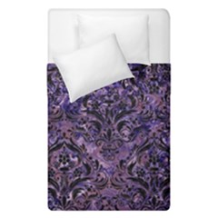Damask1 Black Marble & Purple Marble (r) Duvet Cover Double Side (single Size) by trendistuff