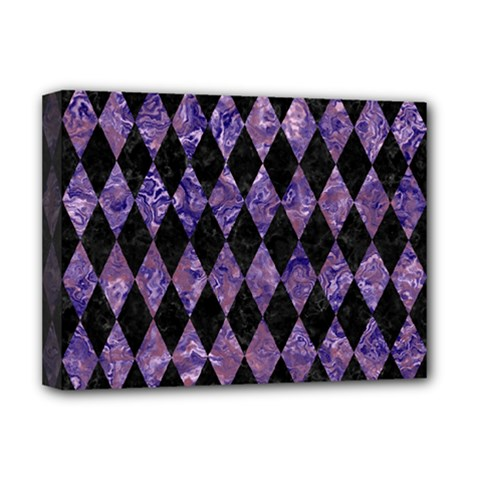Diamond1 Black Marble & Purple Marble Deluxe Canvas 16  X 12  (stretched)  by trendistuff