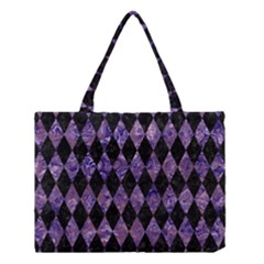 Diamond1 Black Marble & Purple Marble Medium Tote Bag