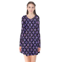 Circles3 Black Marble & Purple Marble (r) Long Sleeve V Neck Flare Dress by trendistuff