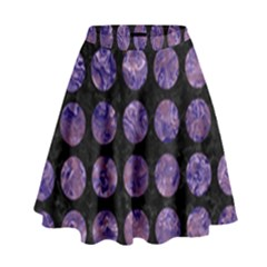 Circles1 Black Marble & Purple Marble High Waist Skirt by trendistuff