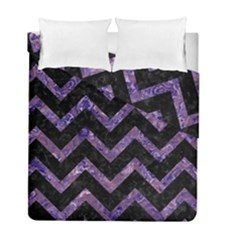 Chevron9 Black Marble & Purple Marble Duvet Cover Double Side (full/ Double Size) by trendistuff