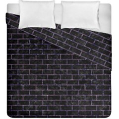 Brick1 Black Marble & Purple Marble Duvet Cover Double Side (king Size) by trendistuff