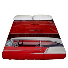 Classic Car Chevy Bel Air Dodge Red White Vintage Photography Fitted Sheet (queen Size) by yoursparklingshop
