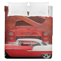 Classic Car Chevy Bel Air Dodge Red White Vintage Photography Duvet Cover Double Side (queen Size)