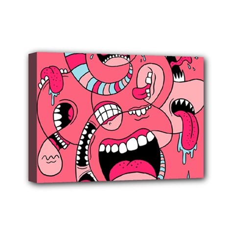 Big Mouth Worm Mini Canvas 7  X 5  by Jojostore