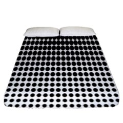 Dark Circles Halftone Black White Copy Fitted Sheet (king Size)
