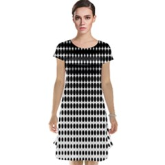 Dark Circles Halftone Black White Copy Cap Sleeve Nightdress by Jojostore