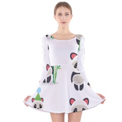 Panda Cute Animals Long Sleeve Velvet Skater Dress by Jojostore