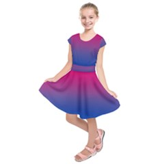 Pink Blue Purple Kids  Short Sleeve Dress