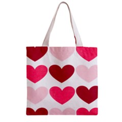 Valentine S Day Hearts Zipper Grocery Tote Bag