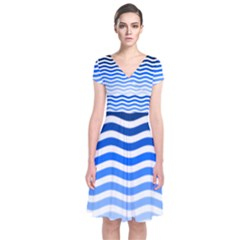 Water White Blue Line Short Sleeve Front Wrap Dress
