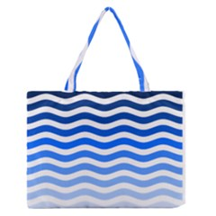 Water White Blue Line Medium Zipper Tote Bag by Jojostore