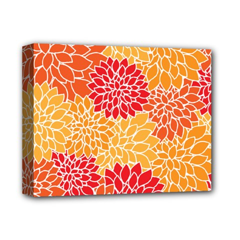 Vintage Floral Flower Red Orange Yellow Deluxe Canvas 14  X 11