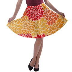 Vintage Floral Flower Red Orange Yellow A Line Skater Skirt