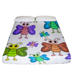 Colorful, Cartoon Style Butterflies Fitted Sheet (california King Size) by Valentinaart