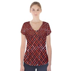 Woven2 Black Marble & Red Marble (r) Short Sleeve Front Detail Top