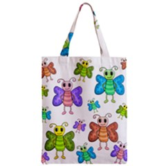 Colorful, Cartoon Style Butterflies Zipper Classic Tote Bag by Valentinaart