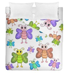 Colorful, Cartoon Style Butterflies Duvet Cover Double Side (queen Size) by Valentinaart