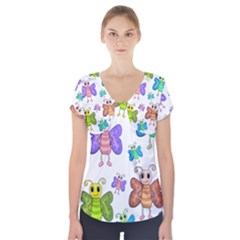 Colorful, Cartoon Style Butterflies Short Sleeve Front Detail Top by Valentinaart