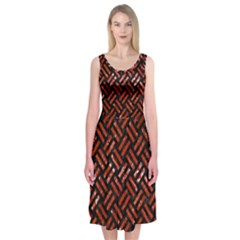 Woven2 Black Marble & Red Marble Midi Sleeveless Dress by trendistuff