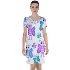 Cute Butterflies Pattern Short Sleeve Nightdress