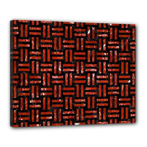 Woven1 Black Marble & Red Marble Canvas 20  X 16  (stretched) by trendistuff