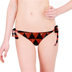 Triangle3 Black Marble & Red Marble Bikini Bottom by trendistuff