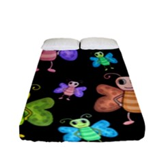 Cartoon Style Butterflies Fitted Sheet (full/ Double Size) by Valentinaart