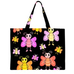 Cute Butterflies, Colorful Design Zipper Large Tote Bag by Valentinaart
