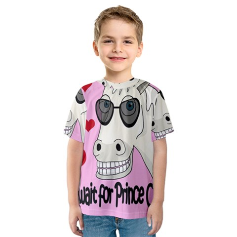 Don t Wait For Prince Charming Kids  Sport Mesh Tee by Valentinaart