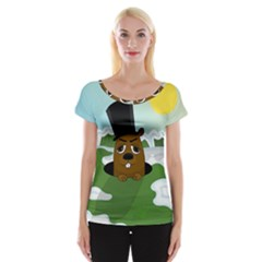 Groundhog Women s Cap Sleeve Top by Valentinaart