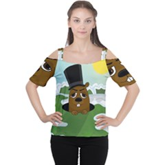 Groundhog Women s Cutout Shoulder Tee by Valentinaart