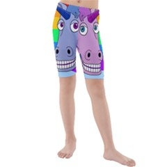 Unicorn Love Kids  Mid Length Swim Shorts