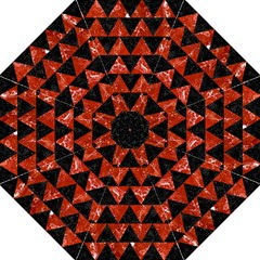 Triangle2 Black Marble & Red Marble Straight Umbrella by trendistuff