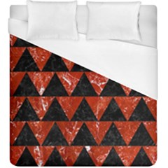 Triangle2 Black Marble & Red Marble Duvet Cover (king Size) by trendistuff