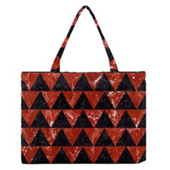 Triangle2 Black Marble & Red Marble Medium Zipper Tote Bag by trendistuff