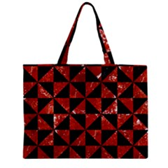 Triangle1 Black Marble & Red Marble Zipper Mini Tote Bag by trendistuff
