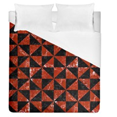 Triangle1 Black Marble & Red Marble Duvet Cover (queen Size) by trendistuff
