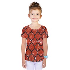 Tile1 Black Marble & Red Marble (r) Kids  One Piece Tee